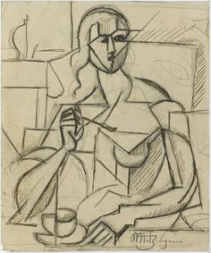 Jean Metzinger | File:Jean Metzinger, 1911, Etude pour Le Goûter, graphite and ink on ...