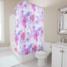 Tropical Nature Flower Watercolor Shower Curtain - watercolor gifts style unique ideas diy