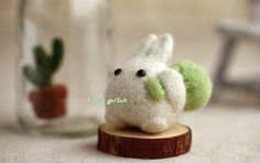 Cute White Totoro Doll with Green Bag, Felt Wool Animal, Felting Kit Material DIY