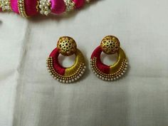 Diy Earrings, Stone Earrings, Earrings Handmade, Crochet Earrings, Handmade Jewelry, Silk Thread Bangles Design, Silk Thread Necklace, Thread Jewellery, Diy Jewelry