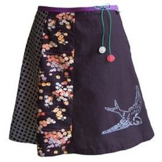 Upcycled skirt. Note the bleach pen swallow... Adorable!