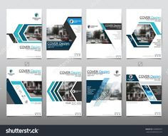 Blue Set Technology Annual Report Brochure Flyer Design Template Vector…