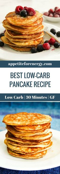 This Low-Carb Pancake Recipe is just what you need to start your day with a heal. This Low-Carb Pancake Recipe is just what you need to start your day with a healthy low-carb breakf Best Keto Pancakes, Low Carb Pancakes, Breakfast Pancakes, Free Breakfast, Breakfast Bars, Breakfast Ideas, Healthy Low Carb Breakfast, Gluten Free Recipes For Breakfast, Ketogenic Breakfast