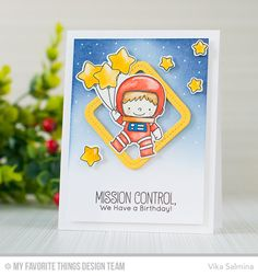 Space Explorer Stamp Set and Die-namics, Single Stitch Line Rounded Square Frames Die-namics - Vika Salmina  #mftstamps