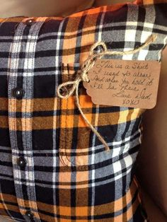 Pilliow made from a dads shirt who passed away....,very sweet idea!!!!
