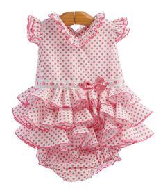 Traje de gitana para bebe popelín blanco lunar rosa