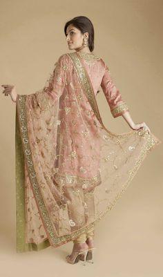 Ritu Kumar Pink Satin Embroidered Churidar