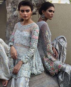 Pakistani Dresses | Blue & Flowers | Beautiful & Elegant