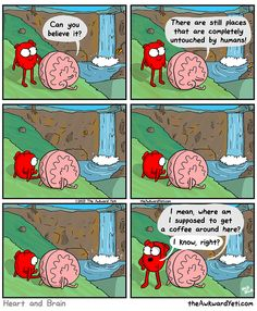 The Awkward Yeti cartoon comics - Heart and Brain enjoy nature that is untouched by humans