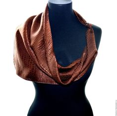Buy hand painted scarf brown crocodile wrap shawl green natural silk Size