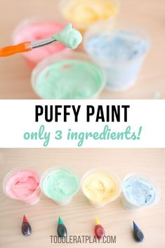 This is a super easy, inexpensive and fun Puffy Paint! It's so easy and fun to make you'll make it often for sure! Toddler at Play - ingredient Puffy Paint Toddler Learning Activities, Art Therapy Activities, Craft Activities For Kids, Sensory Activities, Sensory Play, Classroom Activities, Baby Crafts, Diy Crafts For Kids, Fun Crafts