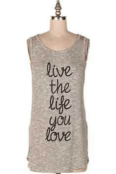 LIVE THE LIFE YOU LOVE KNIT TANK.   #9O-ICT11110