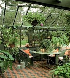 An orangery in the garden - Lovely Market, Constance& finds - I would like to live in a greenhouse. (orangery in the garden, Lovely Market) - Indoor Greenhouse, Small Greenhouse, Greenhouse Gardening, Greenhouse Ideas, Greenhouse Attached To House, Greenhouse Wedding, Greenhouse House, Greenhouse Kitchen, Winter Greenhouse