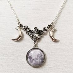 Unique Necklaces, Handmade Necklaces, Beautiful Necklaces, Chain Necklaces, Diamond Necklaces, Pagan Jewelry, Silver Jewelry, Moon Jewelry, Witch Jewelry