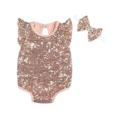 Rose Gold Sequin Romper And Headband Set Girl