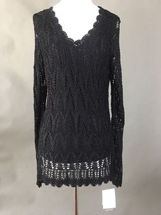 NWT EMMA JAMES Dressy V-Neck Black Knit Croched Tunic, Long-Sleeves, Woman L #EmmaJames #KnitTop #EveningOccasion