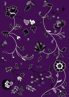 1006 Purple Black white Floral 8x10  Modern area rug carpet Contemporary #Modern