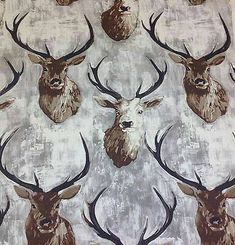 Stag Deer British 100% Cotton Upholstery Roman Blinds Curtain