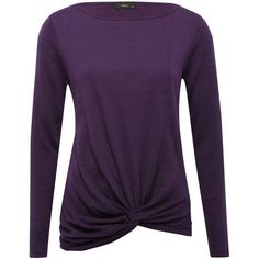 M&Co Knot Front Jumper ($27) ❤ liked on Polyvore featuring tops, sweaters, purple, jumpers sweaters, knot front top, scoop neck sweater, jumper top and purple sweater