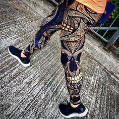 cf235a8f5c325f Orange Ornamental Skull Leggings #mygirl #hiking in #gearbunch #leggings  #exercise #