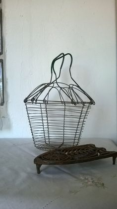 Wire Egg Basket Vegetable French Country Decor