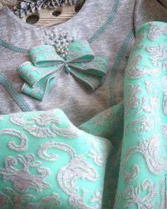 Купить Платье детское ПЛТ 1028 - мятный, орнамент, светло-серый, платье для девочки