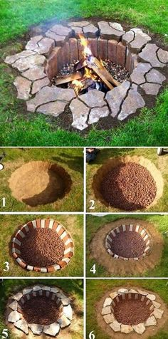 Rustic DIY Fire Pit, DIY Backyard Projects and Garden Ideas, Backyard DIY Ideas on a budget Fire pits are a great gathering place for evening family and friends get togethers. Diy House Projects, Backyard Projects, Backyard Patio, Backyard Landscaping, Patio Stone, Flagstone Patio, Concrete Patio, Patio Table, Backyard Ideas