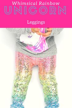 Unicorn rainbow leggings, kids and toddlers. Birthday wear, fun outfit. #ad #unicorn #leggings #toddlers