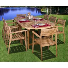 Amazonia Teak Coventry Oval Extendable 9 piece Patio Dining Set by International Home Miami. $2899.99. Belongs toCoventry Collection. Works great against the effects of air pollution salt air, and mildew growth; for best protection, perform this maintenance every season or as often as desired. Includes 1 Oval Extendable Table, 8 Stacking Chairs. The chairs are easily foldable for Convenient Storage. Some assembly required. What is included:Table(1)Chair(8) Great Quality,...