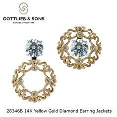 """Do your <a class=""""pintag searchlink"""" data-query=""""%23diamond"""" data-type=""""hashtag"""" href=""""/search/?q=%23diamond&rs=hashtag"""" rel=""""nofollow"""" title=""""#diamond search Pinterest"""">#diamond</a> studs need a little extra sparkle?  These 14K Yellow Gold vintage inspired convertible earring jackets are the perfect fit. Visit your local <a class=""""pintag searchlink"""" data-query=""""%23GottliebandSons"""" data-type=""""hashtag"""" href=""""/search/?q=%23GottliebandSons&rs=hashtag"""" rel=""""nofollow"""" title=""""#GottliebandSons search Pinterest"""">#GottliebandSons</a> retailer and ask for style number 28346B. <a href=""""http://www.gottlieb-sons.com/product/detail/28346B"""" rel=""""nofollow"""" target=""""_blank"""">www.gottlieb-sons...</a>"""