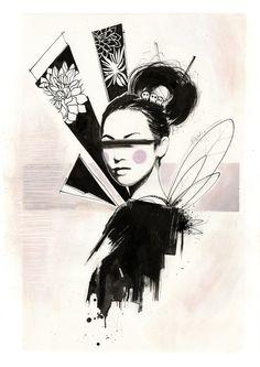 Geisha Art Print by simonettafachini Geisha Tattoo Design, Geisha Art, Oriental, Air Brush Painting, Graphite Drawings, Gcse Art, Chinese Art, Asian Art, Japanese Art