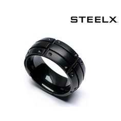 $17.99 - Steelx Men's Black IP Stainless Steel Armor Ring