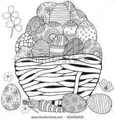 Basket with Easter eggs on white background. Hand-drawn, doodle, vector, zentangle, Easter design elements.  Black and white.  Coloring book page for adult.