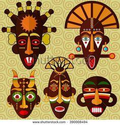 African masks vector set.