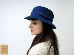Blue felt hat for her  Women winter hat  by AnedeCocoMillinery