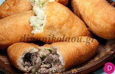 Πιροσκί με γέμιση πατάτας ή κιμά   Dina Nikolaou Hot Dog Buns, Hot Dogs, Appetizers, Pizza, Bread, Breakfast, Sweet, Recipes, Food