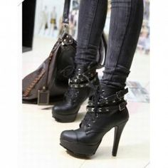 $22.35 Casual and Stylish Style Buckle and Studs Embellished High-Heeled Boots For Female