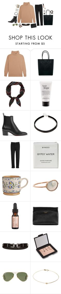 """""""boxing day"""" by yetthisonecounts ❤ liked on Polyvore featuring Iris & Ink, Rebecca Minkoff, philosophy, Christian Louboutin, T By Alexander Wang, Byredo, Dezso by Sara Beltrán, Josie Maran, Acne Studios and River Island"""