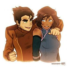 arm around shoulder avatar: the last airbender avatar (series) black hair blue eyes bolin brown hair dark skin dirty elbow gloves green eyes iahfy korra looking at another messy hair short hair smile the legend of korra - Image View