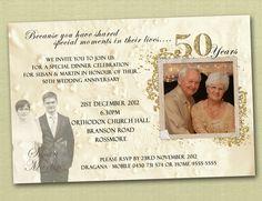 Photo Personalised 50th Wedding Anniversary Invitations - You Print. $15.00, via Etsy.
