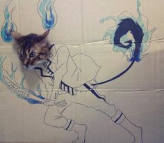 To celebrate her cat Guaguas birthday, Chinese blogger toshiya86 created a series of cardboard comic foregrounds for the furry feline to stick its head through and automatically be transformed into an anime character. The clever project has resulted in an endless array of portraits of the expressive cat, paving the way for kitty cosplay.