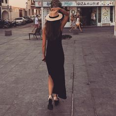 Long black dress with hat ~ summer outfit
