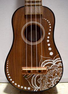 Soprano ukulele with hand-painted design: flower