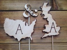 Wedding Cake Topper in the Shape of your Country - Long Distance Couples USA, Australia, Canada, Brazil, Spain, Israel, ANY Country