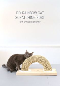 Cat Care Why settle for a boring store-bought cat scratching post when you could make a creative DIY cat scratch pad with a sweet little rainbow and clouds? This DIY tutorial includes building plans and a free printable template and is sponsored by Homemade Cat Toys, Diy Cat Toys, Diy Pour Chien, Diy Jouet Pour Chat, Rainbow Diy, Cat Playground, Cat Scratching Post, Cat Scratcher, Cat Room