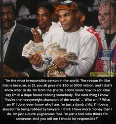 Mike Tyson's brutal honesty… If more people could be brutally honest about themselves.... very stand up Mr Tyson