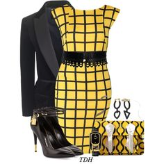 Black & Yellow by talvadh on Polyvore featuring moda, J.Crew, Tom Ford, Vivienne Westwood, Fendi and Alaïa