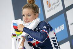 Pauline Ferrand-Prevot (France) tries on the rainbow jersey Photo credit © Bettini Photo