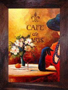QUADRO CAFE PARIS WINE - QUADROS DECORATIVOS VINTAGE & RETRÔ