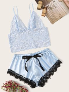 To find out about the Floral Lace Bralette With Satin Shorts at SHEIN, part of our latest Sexy Lingerie ready to shop online today! Lingerie Azul, Lingerie Bonita, Sexy Lingerie, Blue Lingerie, Lingerie Outfits, Pretty Lingerie, Women Lingerie, Lingerie Underwear, Lingerie Shorts